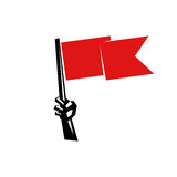 Hand holding a red flag. Minimalistic illustration of a hand holding a red flag that can be used as logo symbol or as isolated design element Royalty Free Stock Images