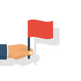 Hand holding red flag. Vector illustration flat design. Isolated on white background. Achieving success symbol. r stock illustration