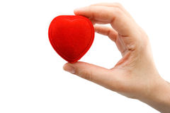 Hand holding red heart box Royalty Free Stock Photography