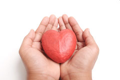Hand holding red heart. Royalty Free Stock Images