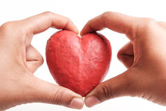 Hand holding red heart. Royalty Free Stock Photo