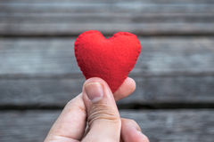 Hand holding a red heart Royalty Free Stock Image