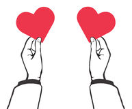 Hand holding red heart vector Stock Photography