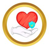 Hand holding red heart vector icon Stock Photo