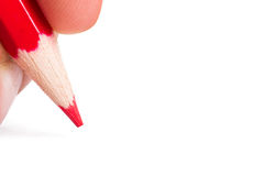 Hand Holding Red Pencil Royalty Free Stock Photography