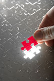 Hand holding red puzzle piece Stock Image
