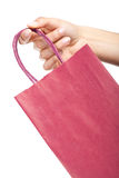 Hand holding a red shopping bag Royalty Free Stock Photo