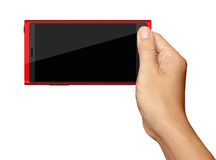 Hand holding on Red Smartphone in horizontal on white Royalty Free Stock Photo