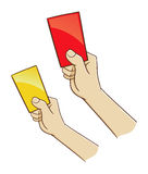 Hand Holding Red And Yellow Card Stock Images