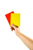 Hand holding red and yellow cards Stock Photography
