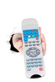 Hand holding remote control Royalty Free Stock Photography