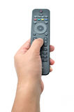 Hand holding the remote control Royalty Free Stock Photo