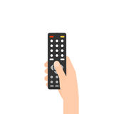 Hand holding remote control. Vector illustration isolated on white background Stock Image