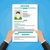 Hand holding resume. Human resources management concept, searching professional staff, analyzing resume papers, work. vector illustration in flat design Royalty Free Stock Images