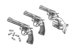 Hand holding revolver with bullets isolated on white background. Short and long barrels. Vector engraving vintage illustrations. For tattoo, web, shooting club Stock Image