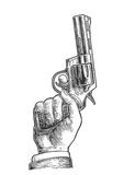 Hand holding revolver for fired to starting. Vector engraving vintage illustrations. Stock Photography
