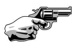 Hand holding with revolver gun isolated on white background. Hand holding revolver gun isolated on white background. Flat black and gray vector illustration Stock Photography