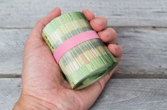 Hand holding a roll of green bank notes Stock Photography