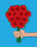 Hand Holding Roses Stock Images