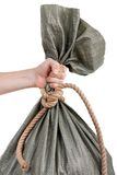 Hand holding sack bag Royalty Free Stock Photography