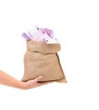 Hand holding sack full of money. Stock Photo