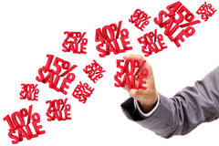 Hand holding Sale Discounts 3D Stock Photos