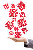 Hand holding Sale Discounts 3D Stock Illustration