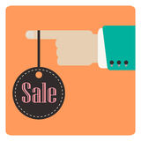Hand holding sale label. Vector illustration Royalty Free Stock Image