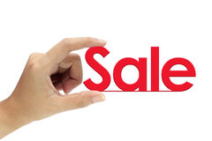 Hand holding sale sign Stock Photo