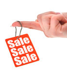 Hand holding sale tag Stock Photos