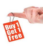 Hand holding sale tag Royalty Free Stock Images