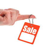 Hand holding sale tag Royalty Free Stock Photos