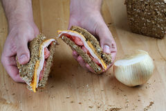 Hand holding sandwich. Hands holding turkey sandwich on counter top Stock Image