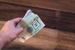 Hand holding saudi riyal bank notes Stock Images