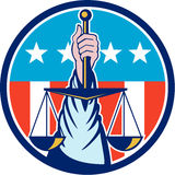 Hand Holding Scales of Justice Circle Retro Stock Photography