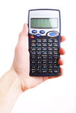 Hand holding scientific calculator. Isolated Stock Photo