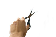 Hand holding scissors with extreme skin texture de Stock Photos