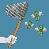 Hand holding scoop-net and catching flying winged dollars. Banknotes with wings goes to net. Concept of easy money. Vector. royalty free illustration