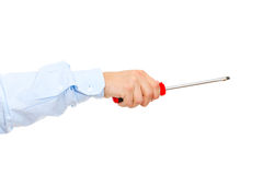 Hand holding screwdriver Royalty Free Stock Images