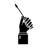 Hand holding screwdriver tool repair pictogram Stock Photography