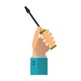 Hand holding screwdriver tool repair Royalty Free Stock Image
