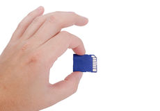 Hand holding SD card on white Stock Photo