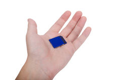 Hand holding SD card on white Royalty Free Stock Image