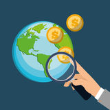 Hand holding search coins world financial. Illustration eps 10 Royalty Free Stock Photos