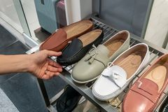 Hand holding and selecting fashion shoes royalty free stock photo