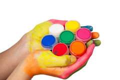 hand holding set of paints Royalty Free Stock Images