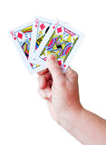 Hand holding a set of playing cards Stock Image
