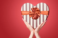Hand holding shape heart box Royalty Free Stock Photo