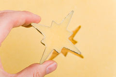 Hand holding shar shaped cookie Stock Images