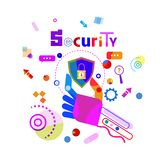 Hand Holding Shield Data Secutiry Protection Concept Banner. Vector Illustration Stock Photos
